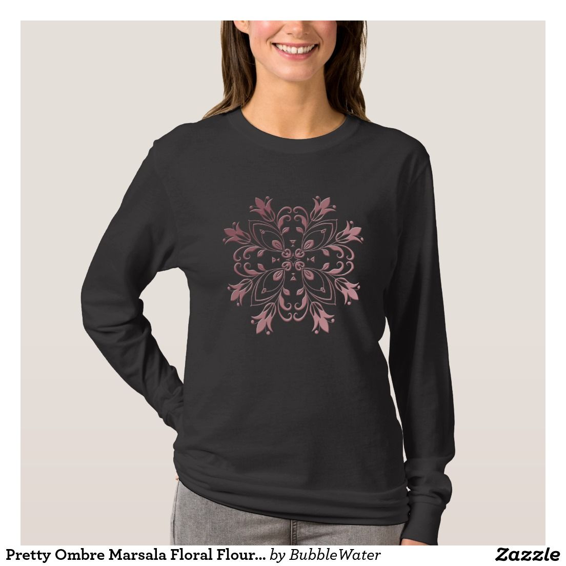 Pretty Ombre Marsala Floral Flourish T-Shirt | ... // Zazzle ...